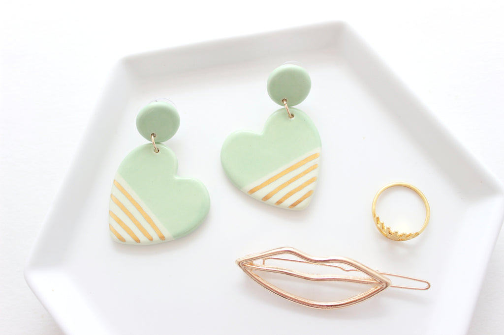 NEW! Mint Two Tone Heart Statement Earrings / Valentine Collection