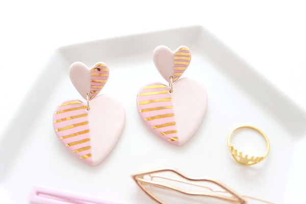 NEW! Pink Two Tone Double Heart Statement Earrings / Valentine Collection