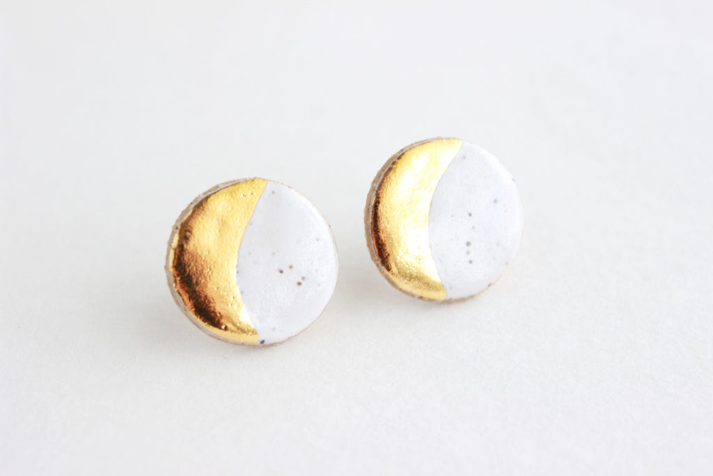 Speckled Stoneware Moon Stud Earrings
