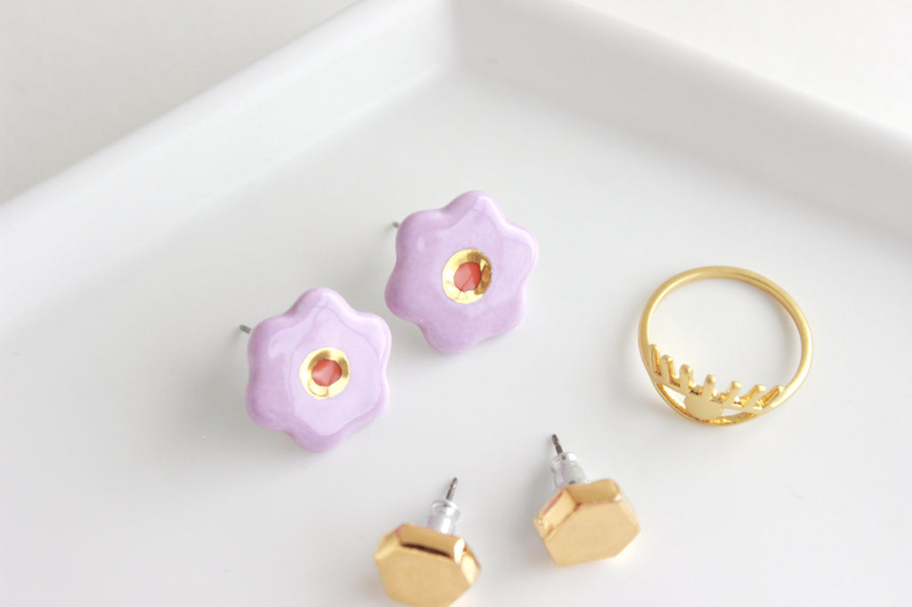 NEW! Lilac/Burnt Orange Flower Stud Earrings / Flower Collection