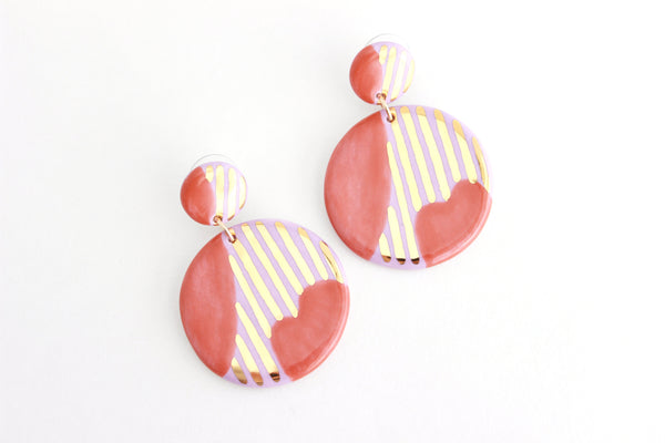 Lilac/Burnt Orange Striped Abstract Statement Earrings