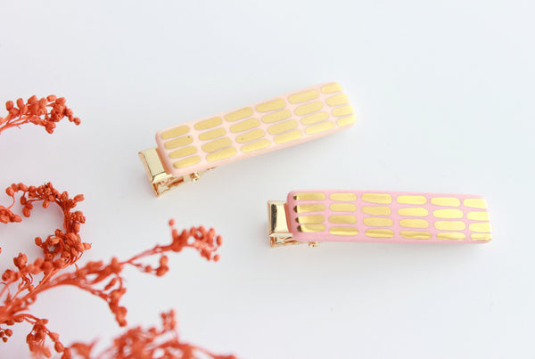 NEW! Two Tone Dash Bar Hair Clip Set
