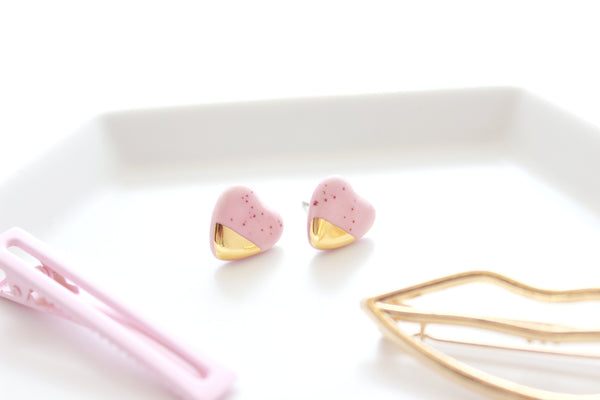 NEW! Mini Speckled Pink Gold Dipped Heart Stud Earrings / Valentine Collection