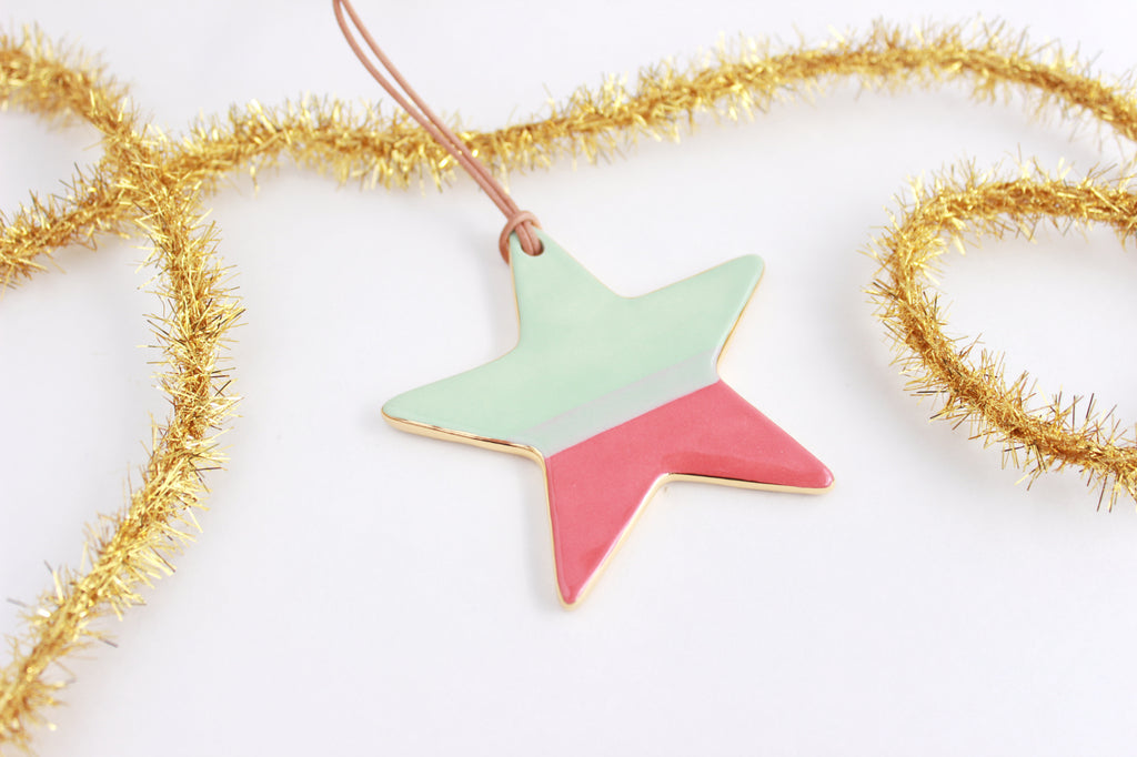 Color Block Star Christmas Ornament