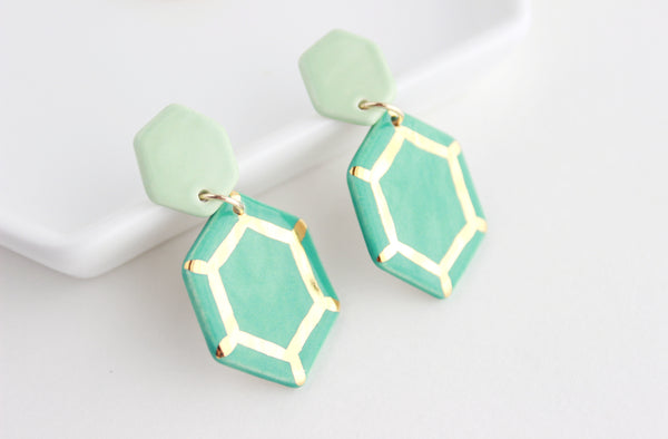Valentine Collection / Two Tone Gem Statement Earrings