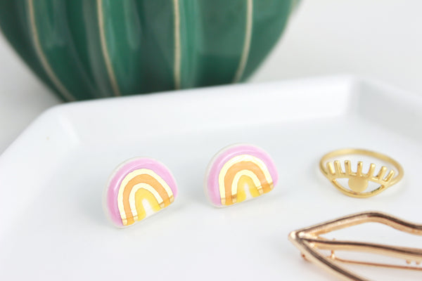 Bright Pink Rainbow Stud Earrings
