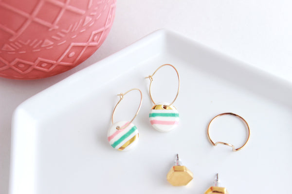 NEW! Striped Round Charm Hoop Earrings