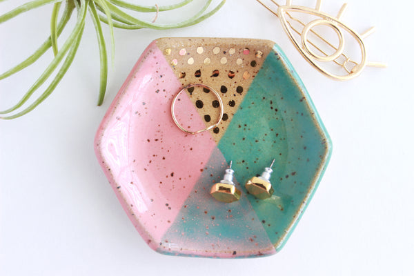NEW! Speckled Stoneware Hexagon Color Block Ring Dish