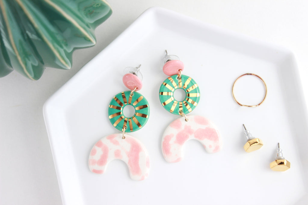 Triple Sunburst Splash Cutout Statement Earrings