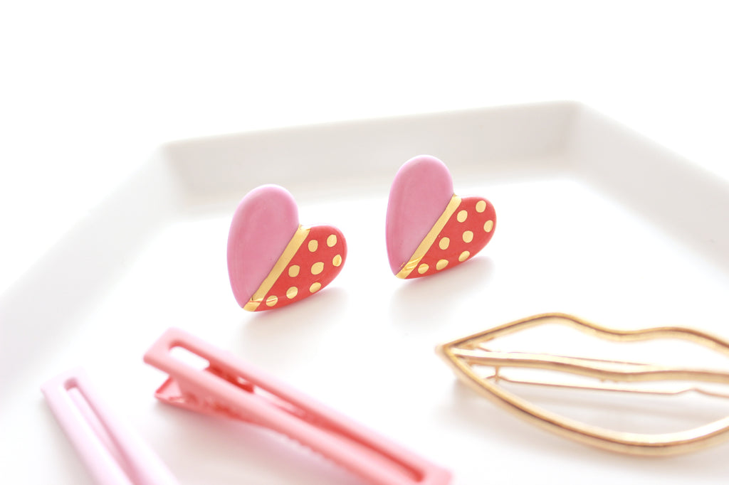 NEW! Color Block Heart Stud Earrings / Valentine Collection