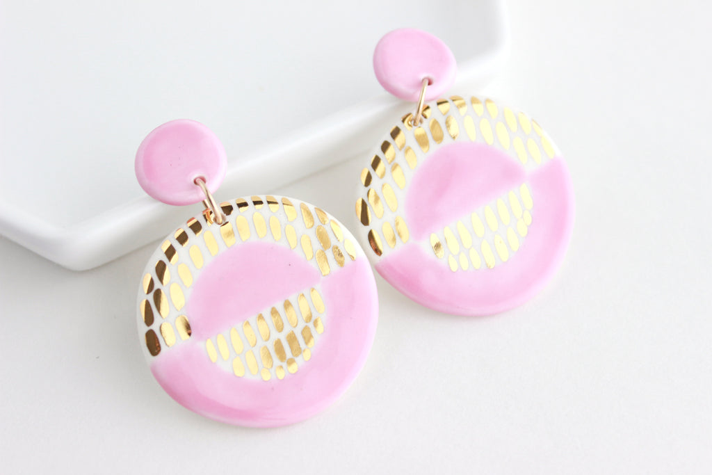 Valentine Collection / Mod Pink Dash Statement Earrings
