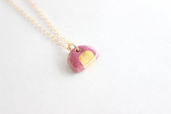 Mini Stoneware Gold Half Circle Charm Necklace