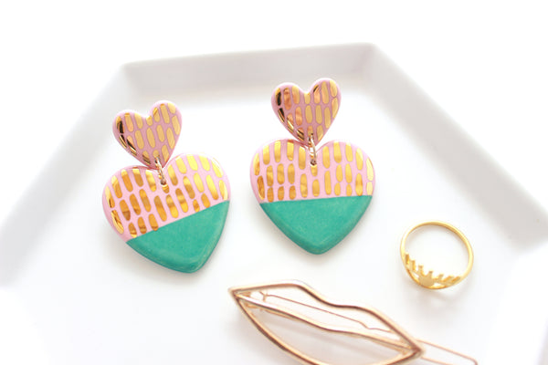 NEW! Pink/Jade Dash Double Heart Statement Earrings / Valentine Collection