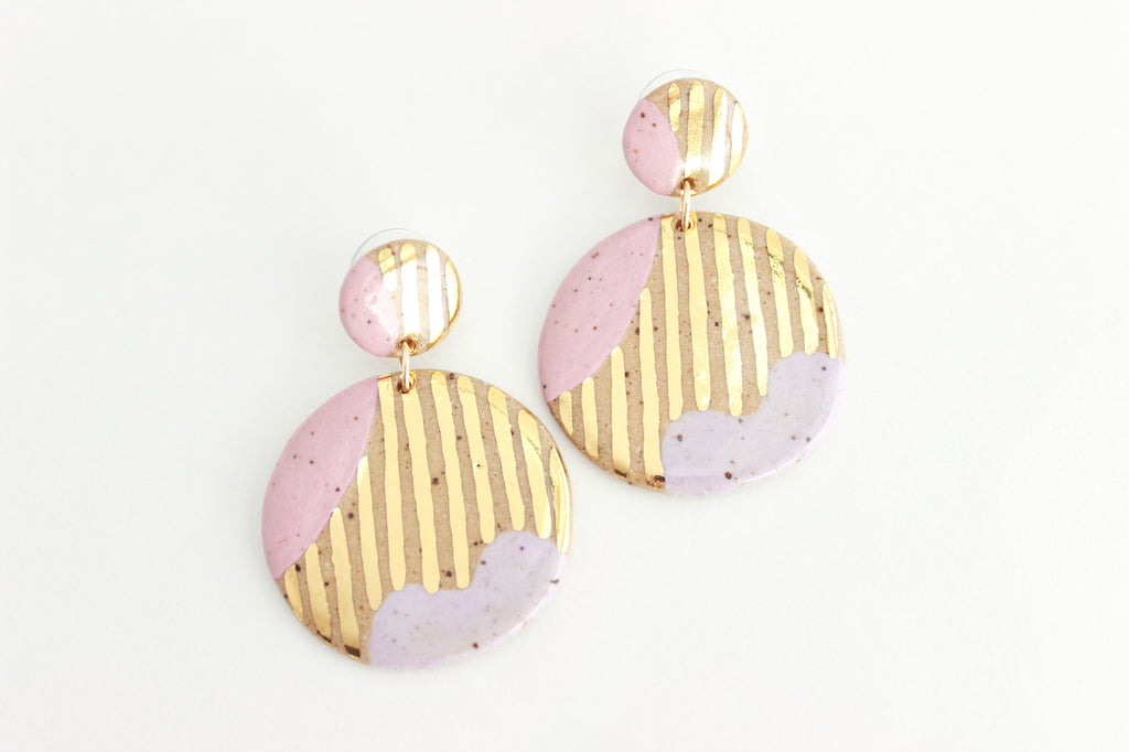 NEW! Speckled Stoneware Abstract Statement Earrings