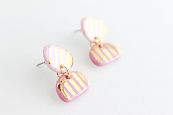 Striped Double Half Circle Small Statement Earrings