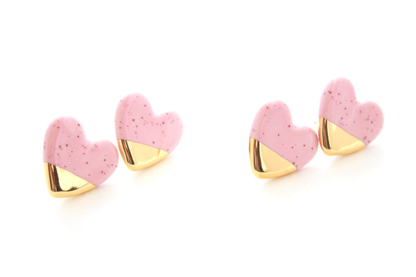 NEW! Burgundy Speckled Pink Gold Dipped Heart Stud Earrings / Valentine Collection