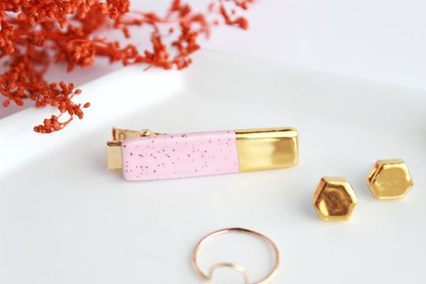 NEW! Pink Speckle Gold Dipped Bar Hair Clip
