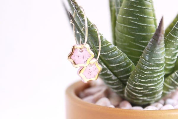 NEW! Pink Speckled Flower Charm Hoop Earrings