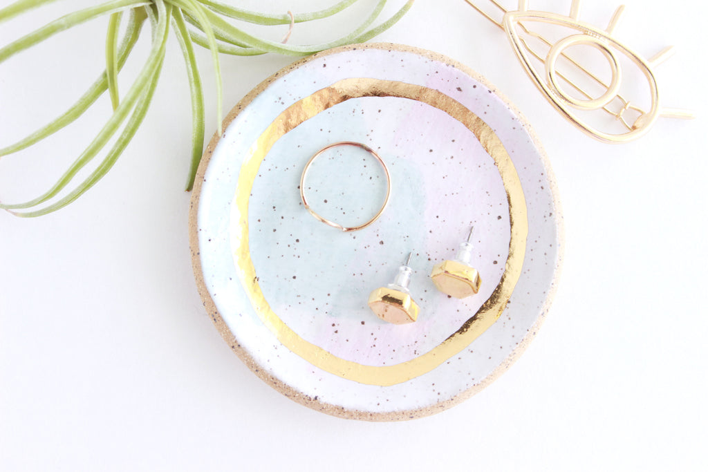 Speckled Stoneware Round Ring Dish
