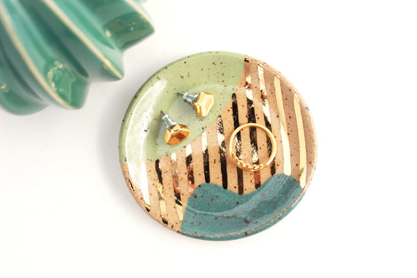 NEW! Speckled Stoneware Abstract Ring Dish