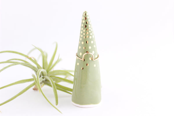 NEW! Sage Gold Dot Ring Cone