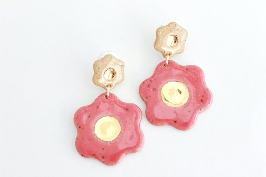 Gold Center Stoneware Flower Statement Earrings