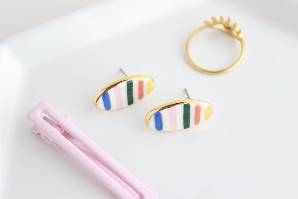 NEW! Rainbow Stripe Oval Stud Earrings