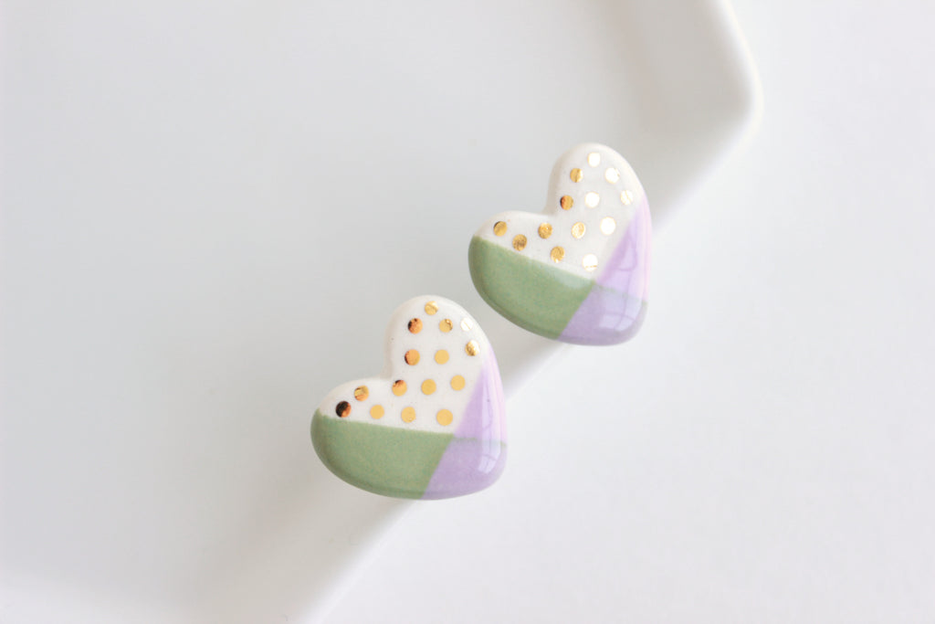 NEW! Sage/Lilac Colorblock Heart Stud Earrings