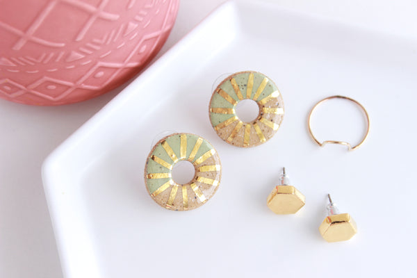 NEW! Stoneware Sunburst Stud Earrings