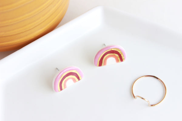 Dark Pink Rainbow Stud Earrings