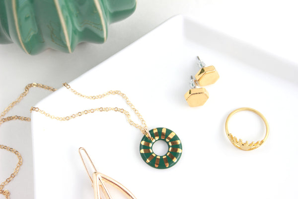 NEW! Emerald Sunburst Charm Necklace