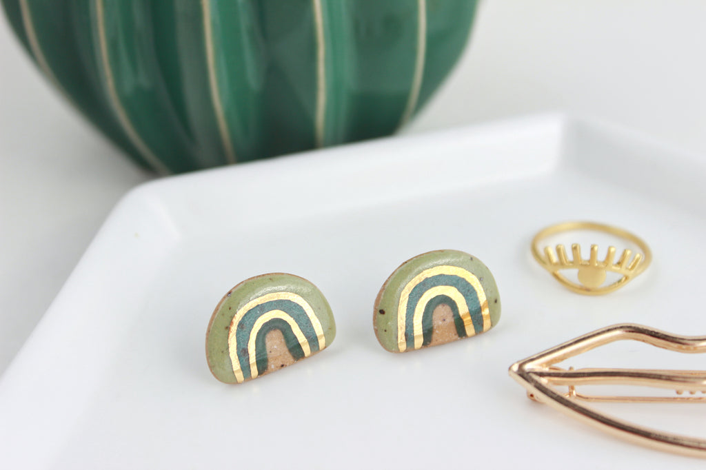 NEW! Green Speckled Stoneware Rainbow Stud Earrings