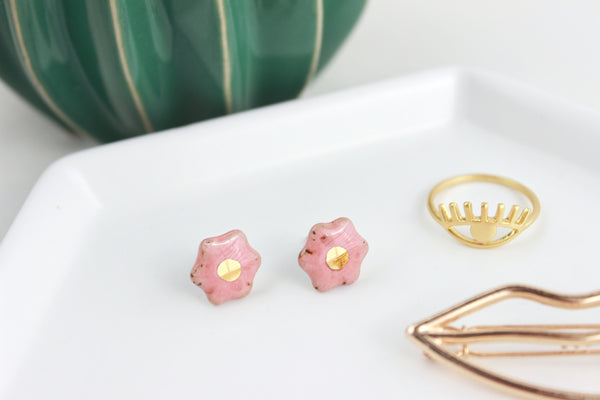 Mini Peach Stoneware Flower Stud Earrings
