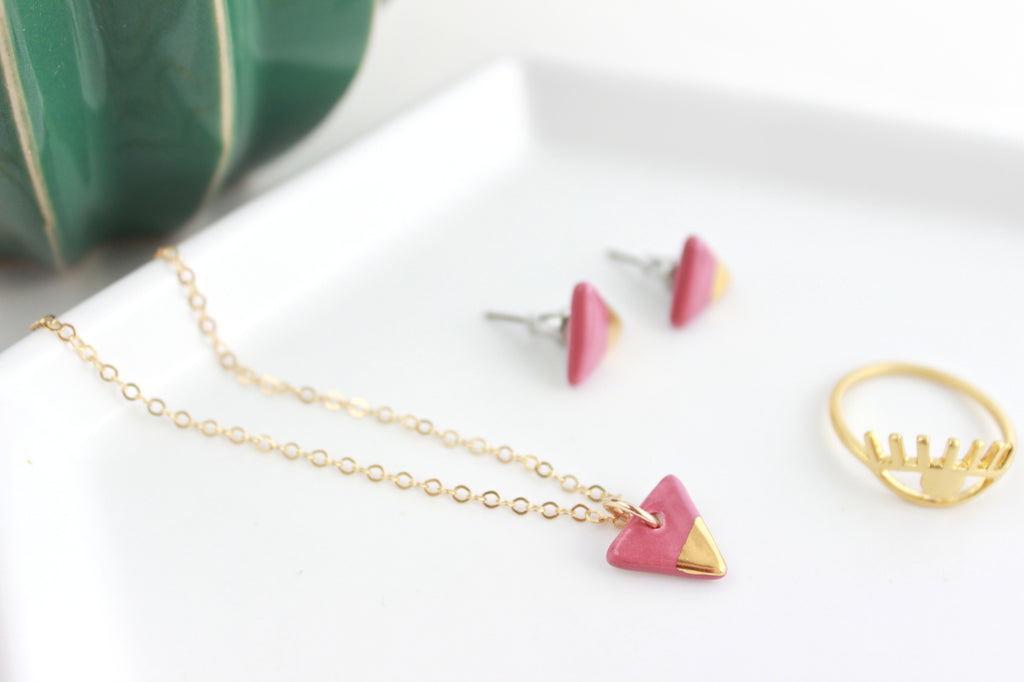 NEW! Mini Gold Dipped Triangle Charm Necklace