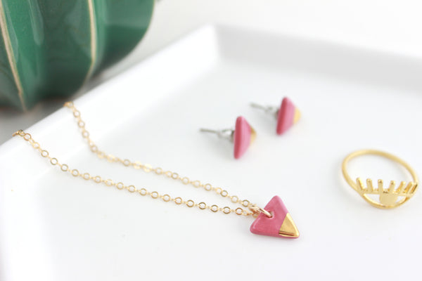 Mini Gold Dipped Triangle Charm Necklace