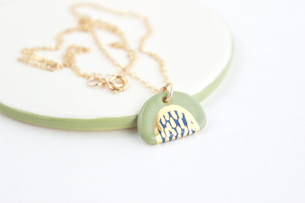 NEW! Gold Dash Half Circle Mini Charm Necklace