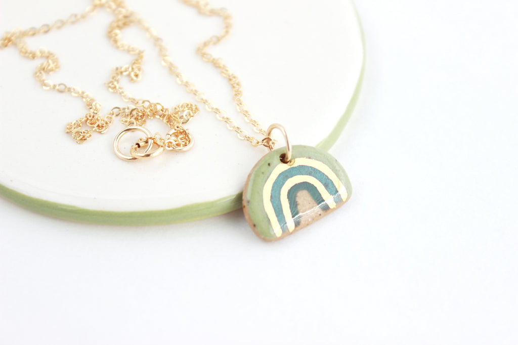 NEW! Green Rainbow Stoneware Mini Charm Necklace