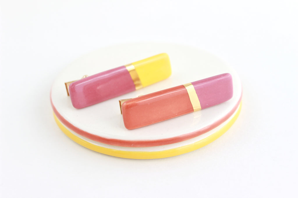 NEW! Color Block Gold Stripe Hair Clip Set