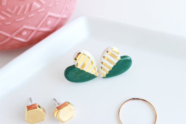 Emerald Striped Heart Stud Earrings