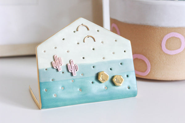 NEW! Matte Colorblock Hexagon Earring Holder