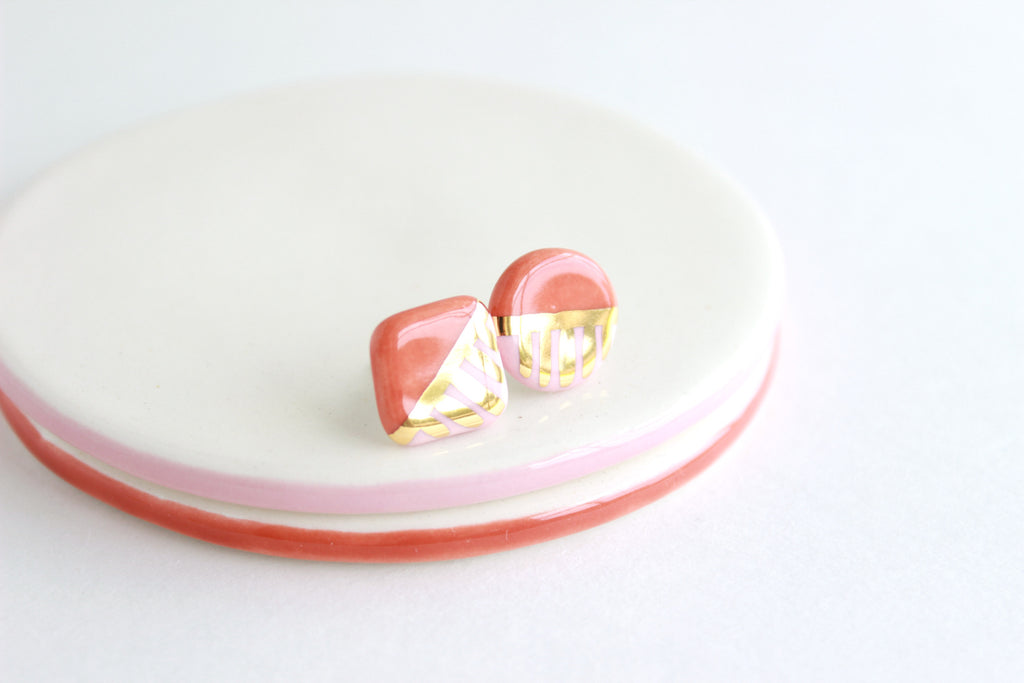 Two Tone Mismatched Patterned Stud Earrings