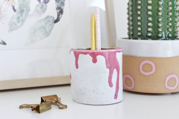 NEW! Pink Drip Stoneware Mini Planter