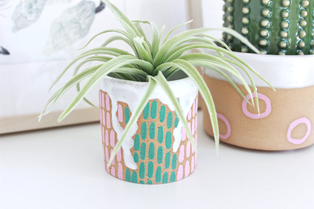 NEW! Colorful Dash Stoneware Mini Planter