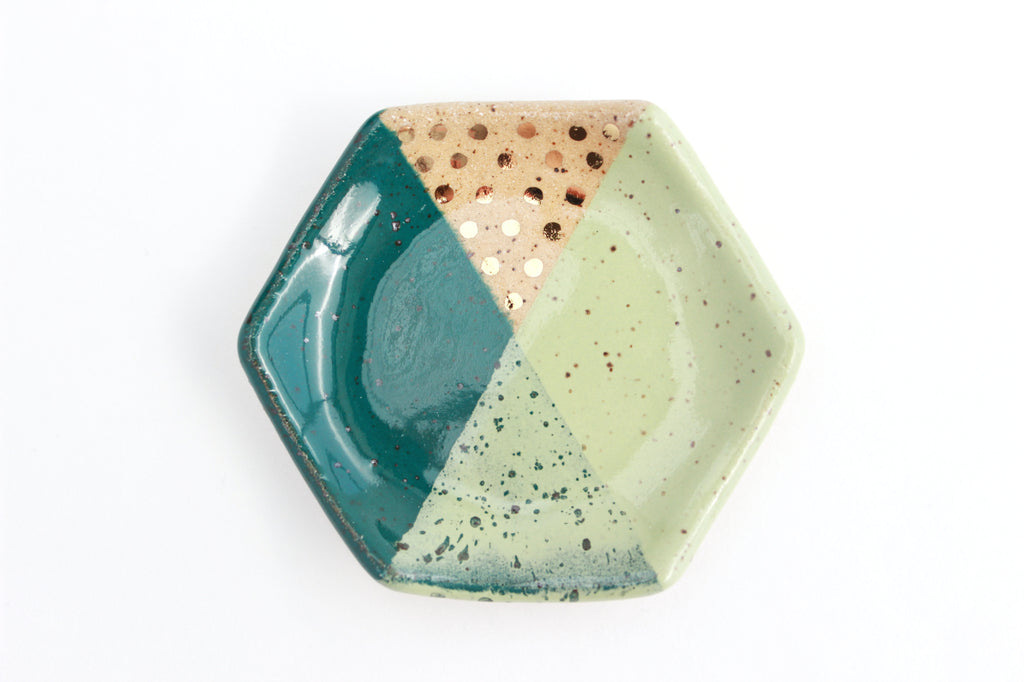 Speckled Stoneware Hexagon Color Block Ring Dish