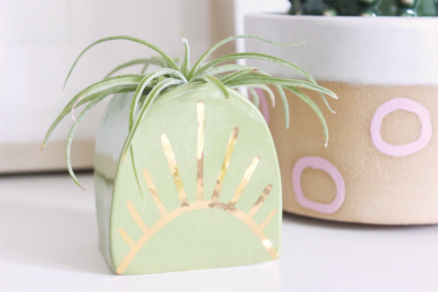 Pink Abstract Gold Rimmed Mini Planter