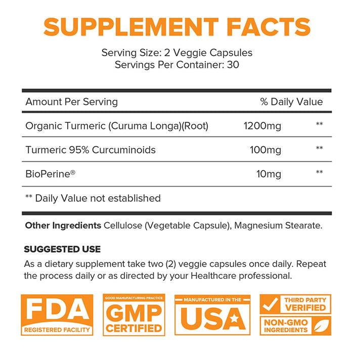 Turmeric Curcumin with BioPerine® 60ct (6-Pack) - 50% Off + FREE Shipping