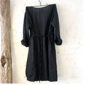 Greta Linen Wrap Around Coat-Black