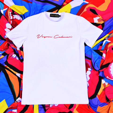 White Tee with Red Foil Signature Logo