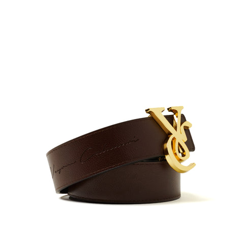 VC 24K Gold Buckle with Black & Brown Reversible Leather Belt Strap