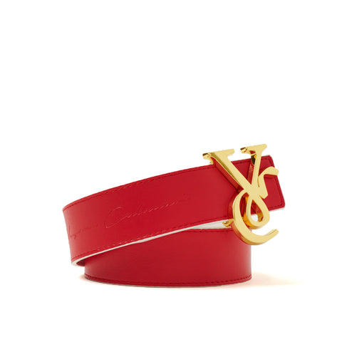 VC 24K Gold Buckle with Red & White Reversible Leather Belt Strap